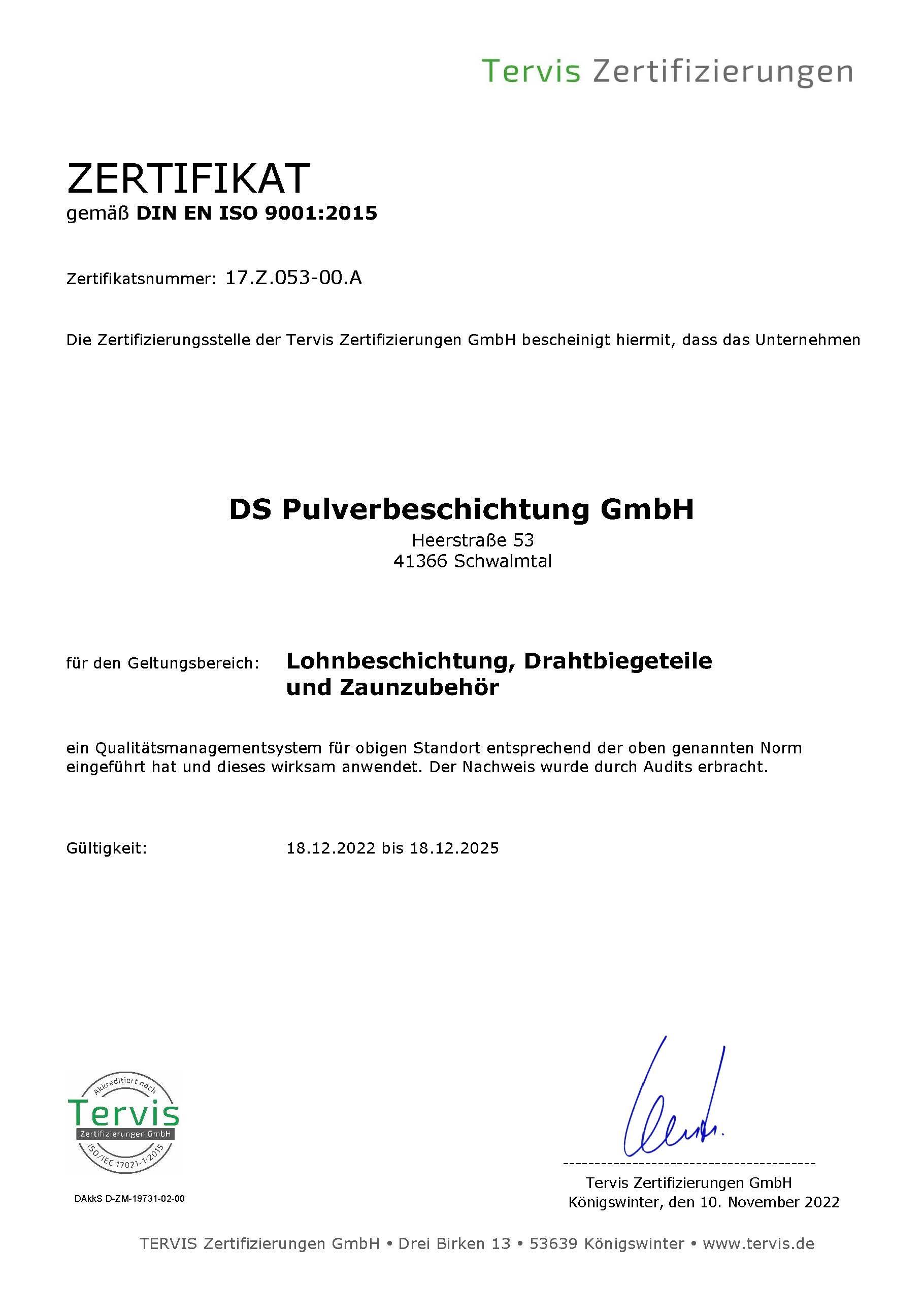 Zertifikat gemäß DIN EN ISO 9001:2015 Qualitätsmanagementsystem DS Pulverbeschichtung GmbH